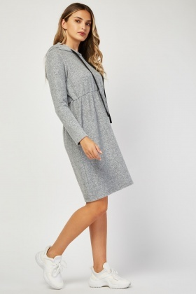 Speckled Poly-Fleece Hooded Dress