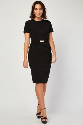 Top Stitched Panel Pencil Dress