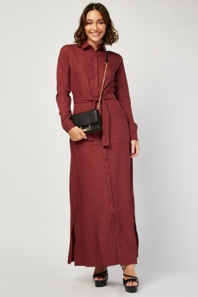 Twin Pocket Front Maxi Shirt Dress