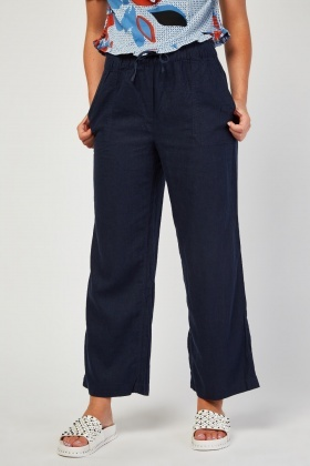 Partly Linen Wide Leg Trousers
