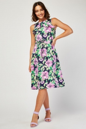 Ruffle Floral Midi Dress
