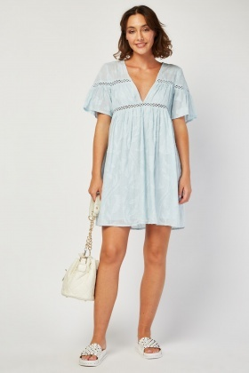 Textured Pattern Babydoll Dress