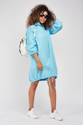 Windowpane Tie Up Hem Tunic Dress