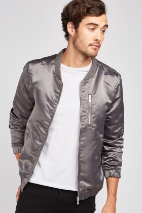 Baseball Collar Sateen Bomber Jacket