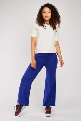 Blue Ribbed Knit Trousers