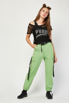Clip Trim Green Cargo Pants