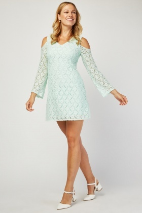Cold Shoulder Mini Lace Dress
