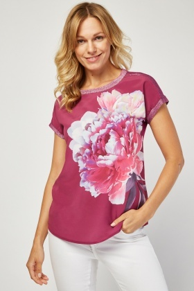 Lurex Trim Floral Top
