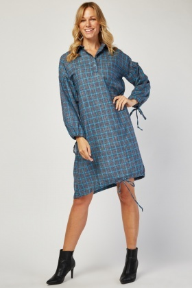 Oversized Check Collared Dress