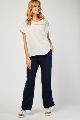 Partially Linen Straight Fit Trousers