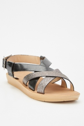 Black Criss Cross Strap Sandals