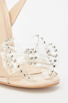 Bow Studded Transparent Heel Sandals