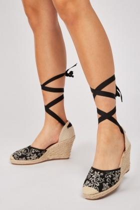 Embroidered Tie Up Espadrille Wedges