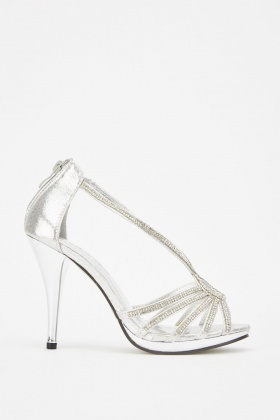 Encrusted High Heeled Sandals