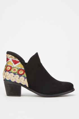 Ethnic Embroidered Ankle Boots £5.00