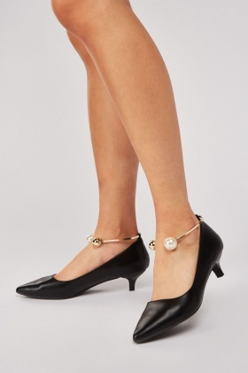 Faux Pearl Bangle Trim Court Heels