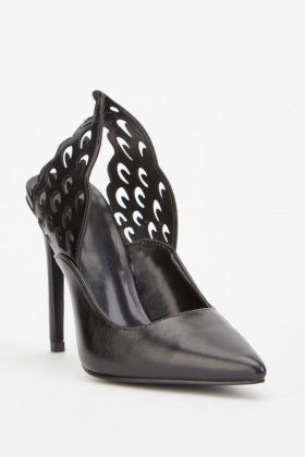 Laser Cut Wing Back Court Heels