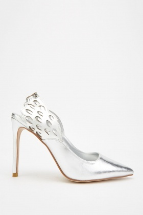 Metallic Butterfly Wing Cut Court Heels
