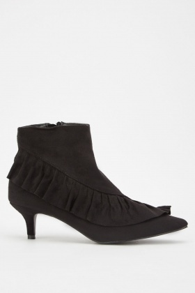 Suedette Ruffle Trim Ankle Boots £5.00