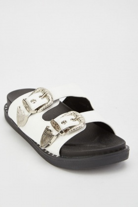 Western Buckled Strap Sliders