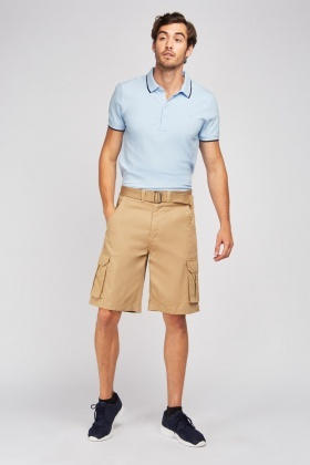 Beige Woven Belted Utility Shorts