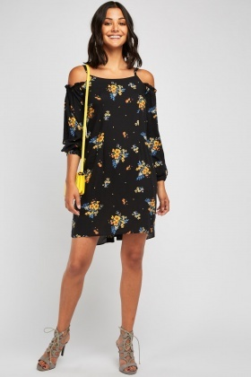 Cold Shoulder Floral Shift Dress £5.00