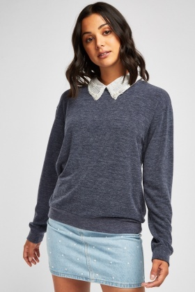 Embellished Collar Speckled Sweatshirt