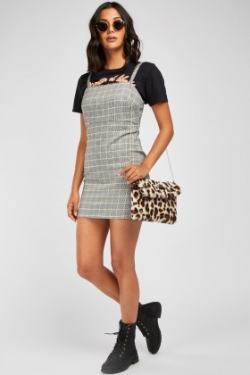 Houndstooth Pinafore Bodycon Dress