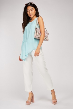 Pleated Front Asymmetric Chiffon Top