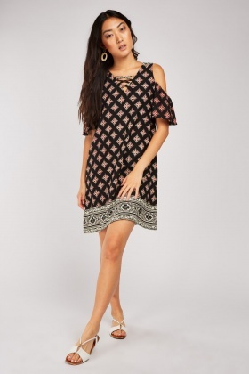 Criss-Cross Front Ethnic Print Dress £5.00