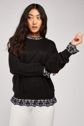 Embroidered Trim Sweatshirt