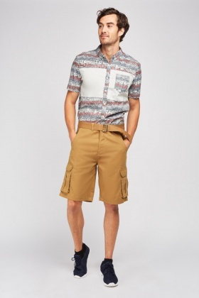 Khaki Long-Line Utility Shorts