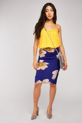 Large Flower Print Skirt