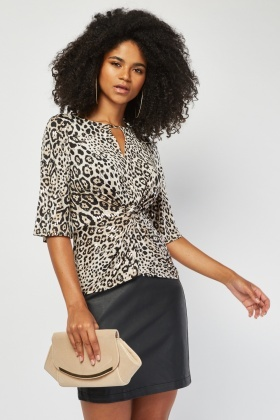 Leopard Sequin Encrust Knotted Top