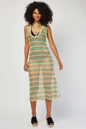 Loose Crochet Knit Beach Cover Up
