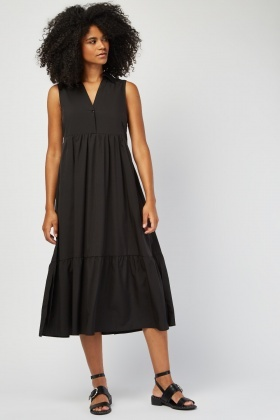 Sleeveless Button Front Smock Dress