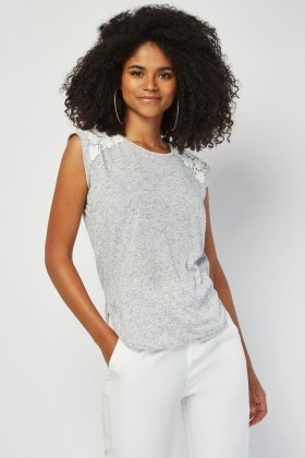 Speckled Crochet Panel Top