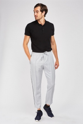 Tapered Plaid Trousers
