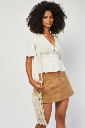 Tie Up Front Mix Linen Blouse