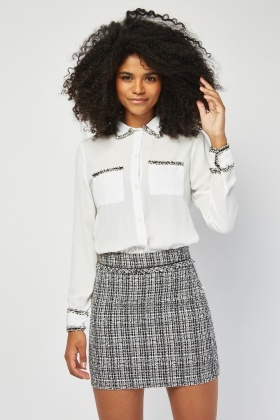Tweed Trim Chiffon Shirt