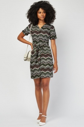 Zig-Zag Speckled Printed Dress £5.00