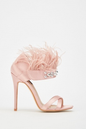 Feather Stud Trim Sateen Sandals