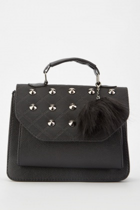 Studded Diamond Quilt Patterned Bag