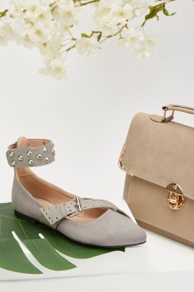 Suedette Eyelet Studded Trim Shoes