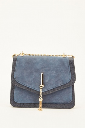 Tassel Chain Front Textured Flap Bag