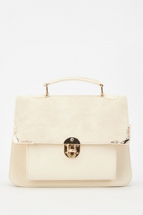 Textured Faux Leather Brief Bag