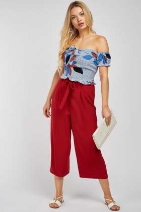 Belted Wide Leg Culotte Pants