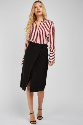 Buckled Waist Midi Wrap Skirt