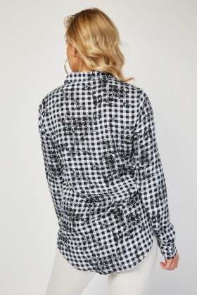 Flower Gingham Contrast Shirt