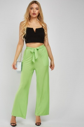 Straight Cut Plisse Trousers